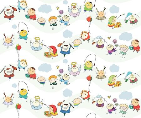 seamless children wallpaper with happy kids Stock Vector - 14566013