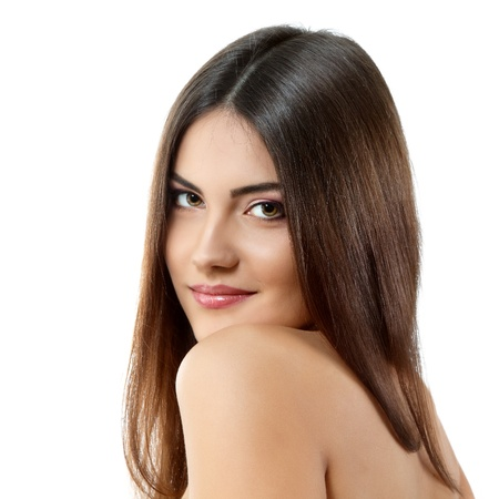 beauty young woman with beautiful long brunette hair isolated on white background photo