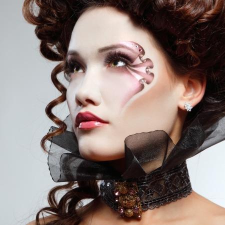 woman beautiful halloween vampire baroque aristocrat photo