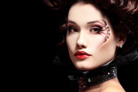 female vampire: woman beautiful halloween vampire baroque aristocrat over black background