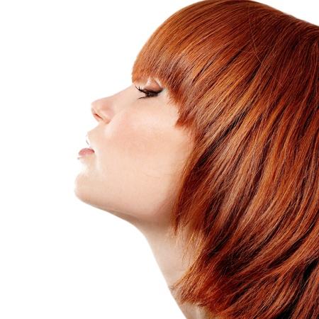 visage femme profil: Profil de jeune fille belle teen rousse. isolé sur fond blanc.