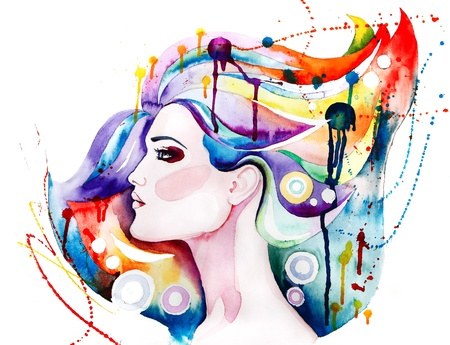 Beautiful young woman with long hair. Creative watercolor art photo