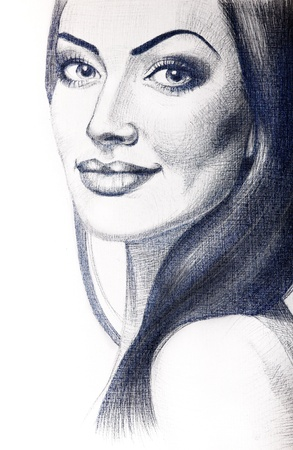 Portrait of beautiful young woman with long hair. Creative drawn in pencil art photo