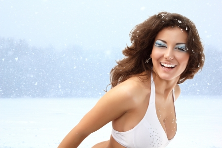 ladies bust: Snow queen - christmas young sexy woman happy smiling, isolated on white background