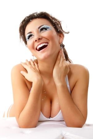 expresion corporal: navidad sexy joven mujer feliz sonriendo aisladas sobre fondo blanco Foto de archivo