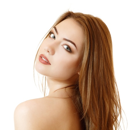 beautiful young female face with long fair hair. Isolated on white background Stock Photo - 15277590