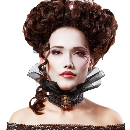 woman beautiful halloween vampire baroque aristocrat isolated on white background Stock Photo - 15277640