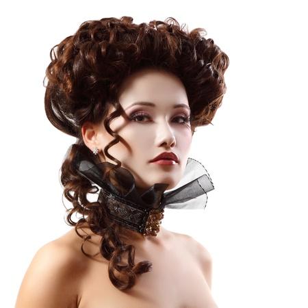 vampire: woman beautiful halloween vampire baroque aristocrat isolated on white background