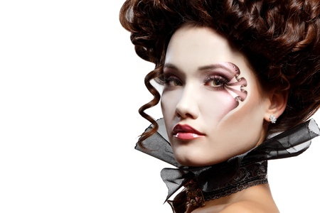 witch face: woman beautiful halloween vampire baroque aristocrat Stock Photo