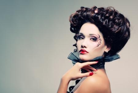 beautiful vampire: woman beautiful halloween vampire baroque aristocrat Stock Photo