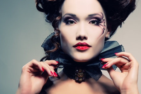 woman beautiful halloween vampire baroque aristocrat photo