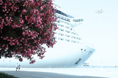 luxury liner: luxury white cruise ship in port with calm sea, blue sky and bloomig tree in front veiw Stock Photo