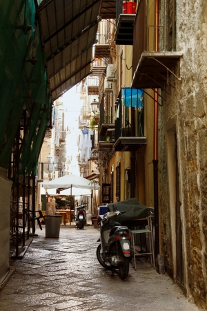 palermo italy: ancient street in Palermo with cobblestone road, Sicily, Italy