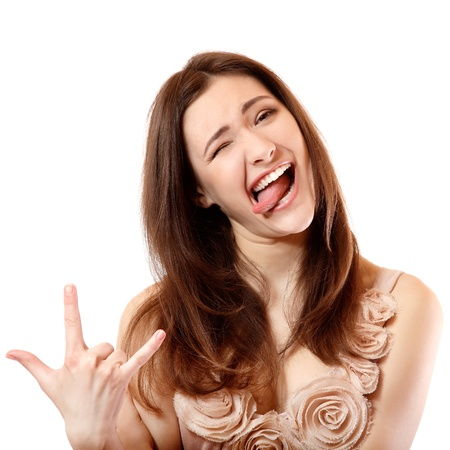 Портрет красивые улыбающиеся подросток девушка счастлива экстатического сделать лица и жесты с ее стороны. Изолированные на белом фоне Фото со стока - 15414330