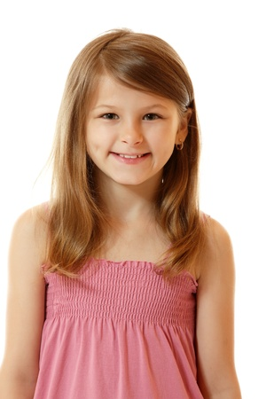 young schoolgirl: cute smiling little girl, isolated on white background
