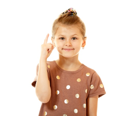 eureka! cute smiling little girl have an idea, isolated on white background photo
