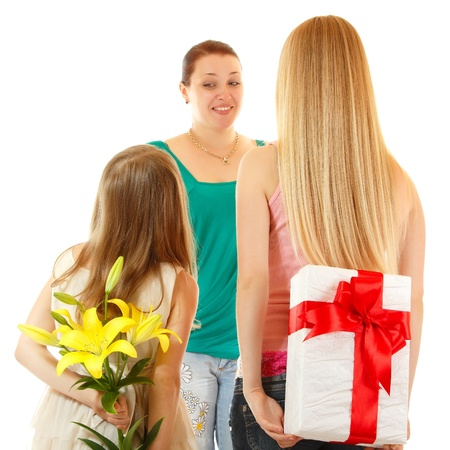 daughters send greetings and presents to mother, isolated on white background photo