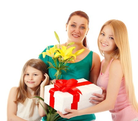 mother's day - daughters send greetings and presents to mother, isolated on white background photo