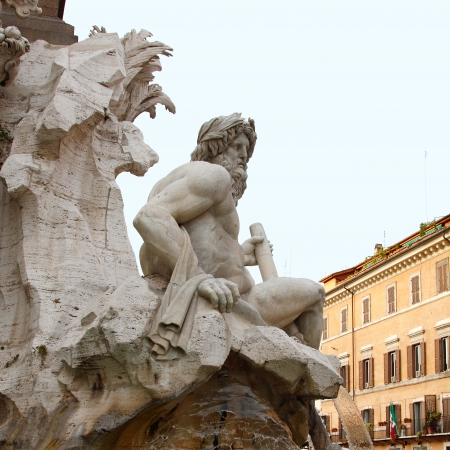 italian architecture: fountain of Four Rivers in Rome, Italy  Stock Photo