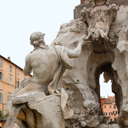 navona: fountain of Four Rivers in Rome, Italy  Stock Photo