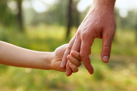 kid's day: fathers hand lead his child son in summer forest nature outdoor, trust family concept
