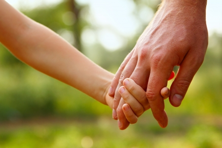 fathers hand lead his child son in summer forest nature outdoor, trust family concept