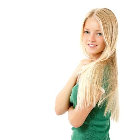 ragazze bionde: ragazza teen bella allegra godendo isolato su sfondo bianco