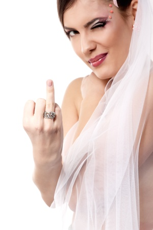 rose ring: cute young playful bride showing wedding ring and makes faces isolated on white background