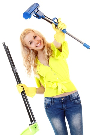 charlady: House work young woman housewife. Housework