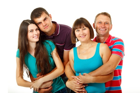 Happy two generation caucasian family having fun and smiling over white photo