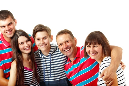 average age: Happy big caucasian family having fun and smiling over white