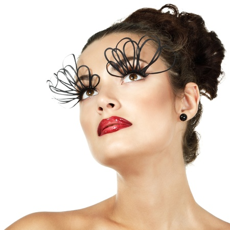 sexy fashion girl with decorative eyelashes and red lipstick, isolated photo