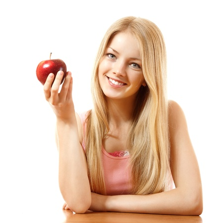 teeny: happy teeny girl with red apple, isolated on white background