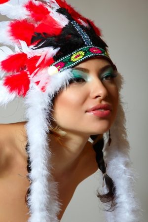 Beautiful young woman native American Indian, isolated on white background Stock Photo