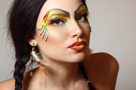 aboriginal woman: Beautiful young woman native American Indian, isolated  Stock Photo
