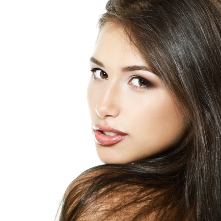 Beauty girl portrait, young fresh woman, face and shoulders closeup. Isolated on white background  photo