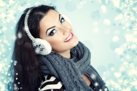 woman christmas, young beautiful smiling girl photo