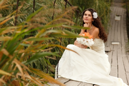 young beautiful woman bride's portrait sitting on the bridge in countryside, summer nature outdoor Stock Photo - 16764278