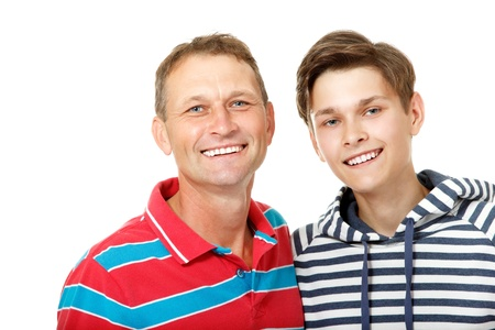 mid teens: Father with son teen happy smiling over white background
