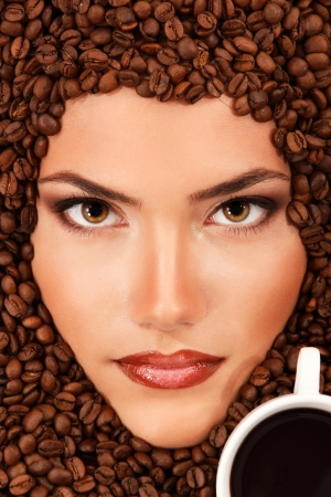 coffee woman beauty face beautiful make-up with cup photo
