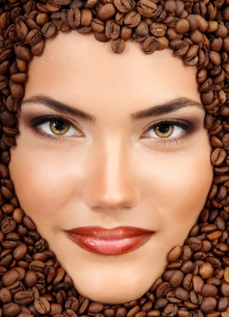 coffee young woman beauty smiling face beautiful make-up photo