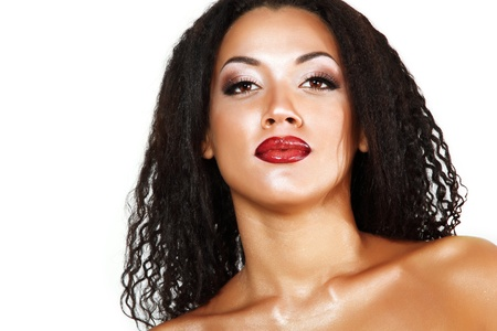 Beauty portrait of young mulatto fresh fashion woman with beautiful makeup over white background photo