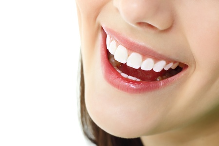 perfect teeth: perfect smile with healthy tooth of cheerful teen girl isolated on white background