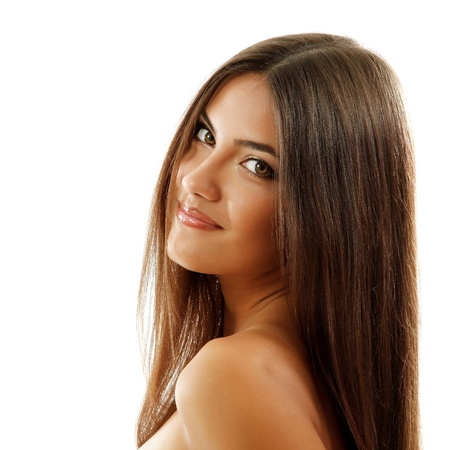 hair spa: beautiful smiling girl, female face closeup, isolated on white background