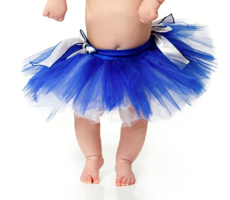 1 2 month: baby girl like a ballet dancer in blue tutu, isolated on white background Stock Photo
