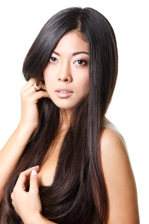 beauty woman portrait of young beautiful girl with long black hair and clean skin over white photo