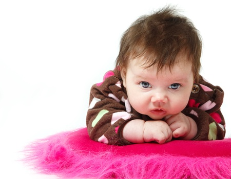 1 2 month: cute baby portrait, beautiful kids face and hands closeup over white