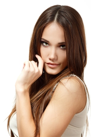 teen girl brown hair: beauty woman portrait of teen girl beautiful cheerful enjoying with long brown hair and clean skin over white Stock Photo
