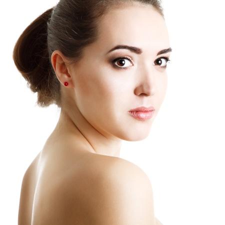 young woman beauty portrait, studio shot, over white photo
