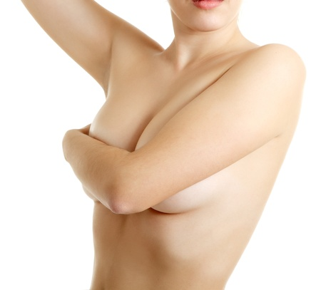 beauty breast: woman examining breast mastopathy or cancer isolated